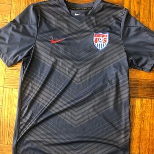 Nike dri fit navy blue and red USA soccer jersey
